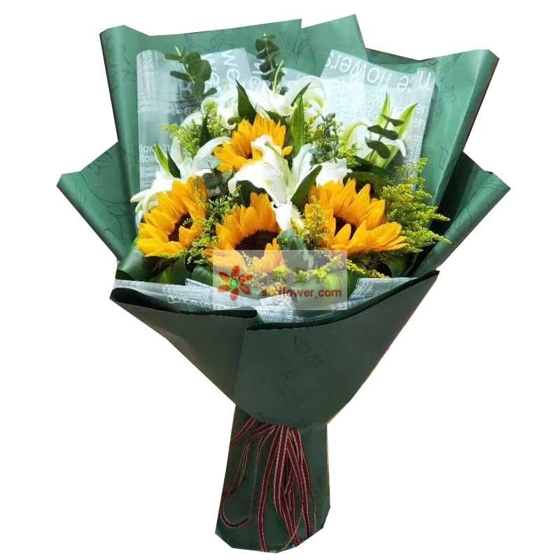 4枝向日葵,2枝多条白色百合,黄英、尤加利搭配;