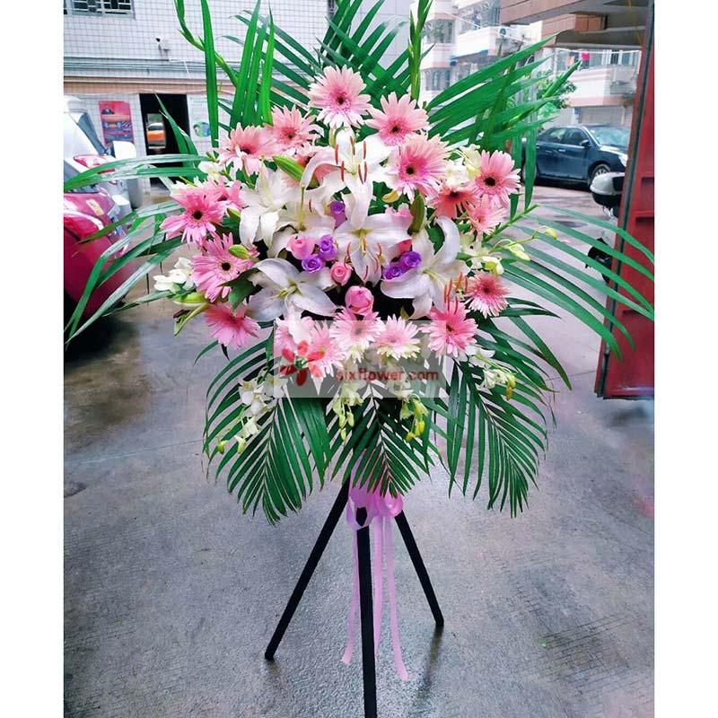 18枝粉色扶朗,9枝戴安娜玫瑰,6枝紫色玫瑰,8朵白色百合,紫罗兰搭配,散尾葵周边;