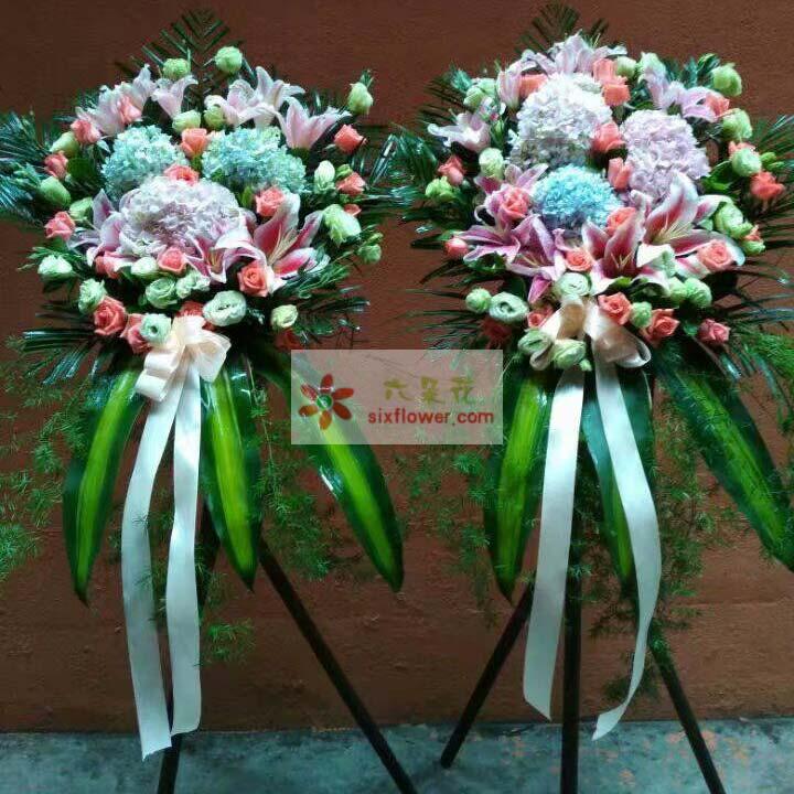 3朵绣球花(粉色+蓝色),19枝艳粉玫瑰,22枝桔梗,散尾葵、巴西叶搭配;
