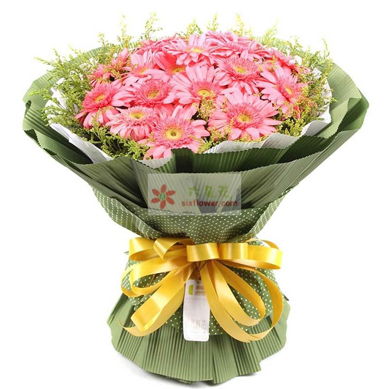 19枝粉色扶朗花,黄英周围点缀;