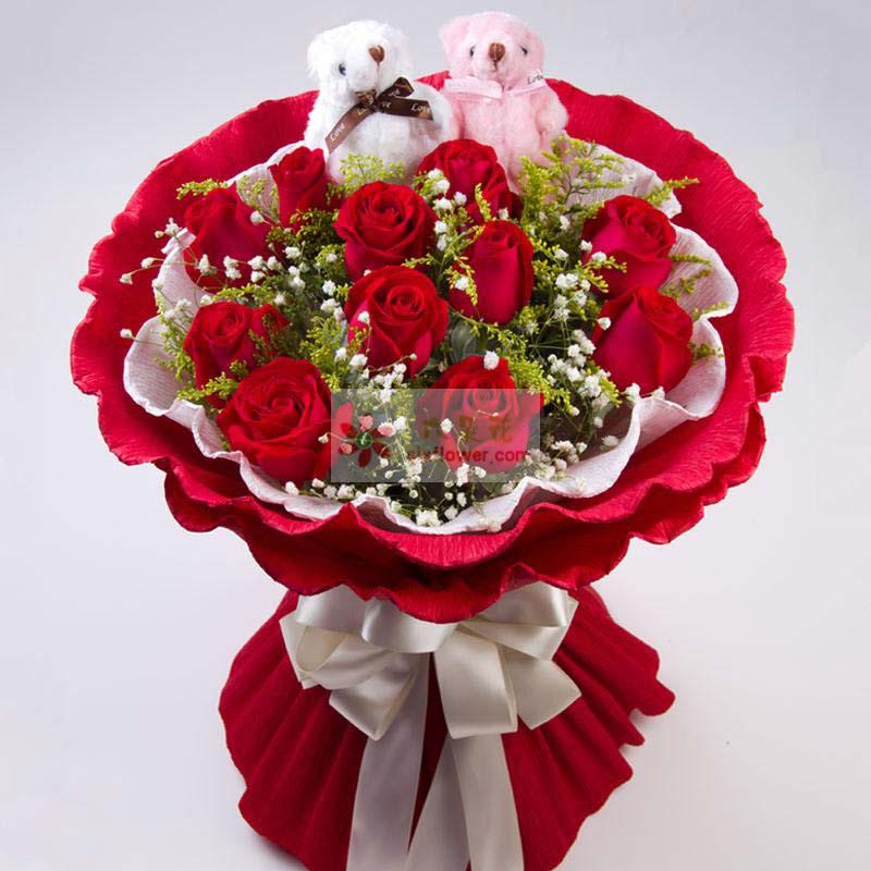 11枝红玫瑰,黄英、满天星丰满