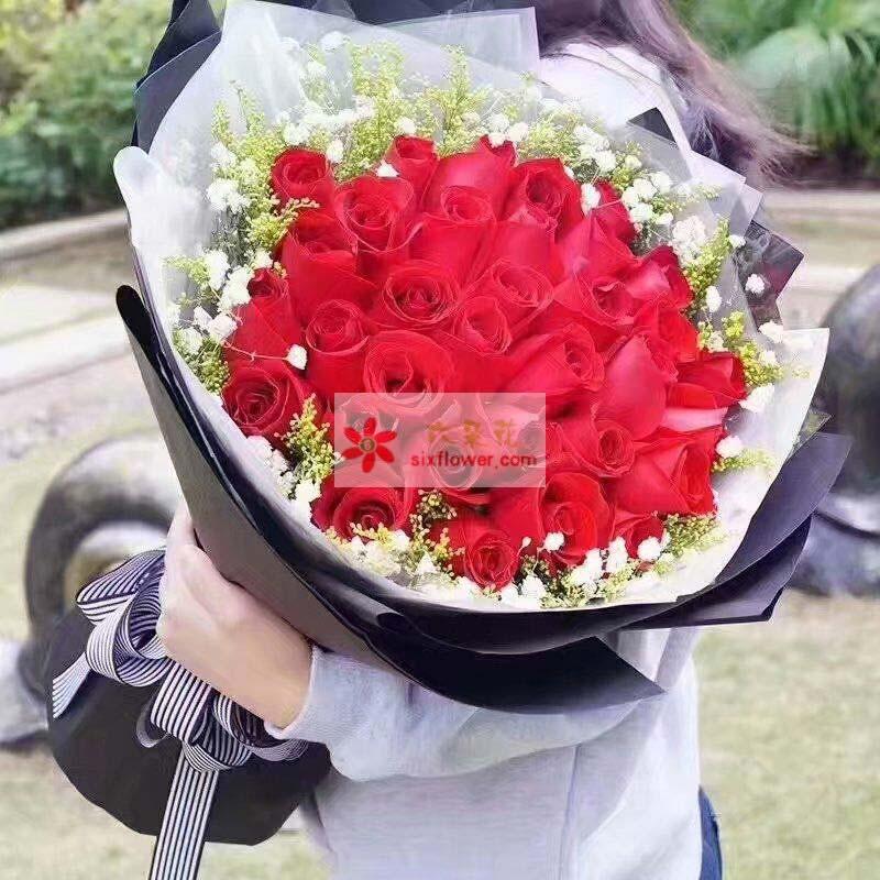 33枝红玫瑰,周围满天星、黄英丰满