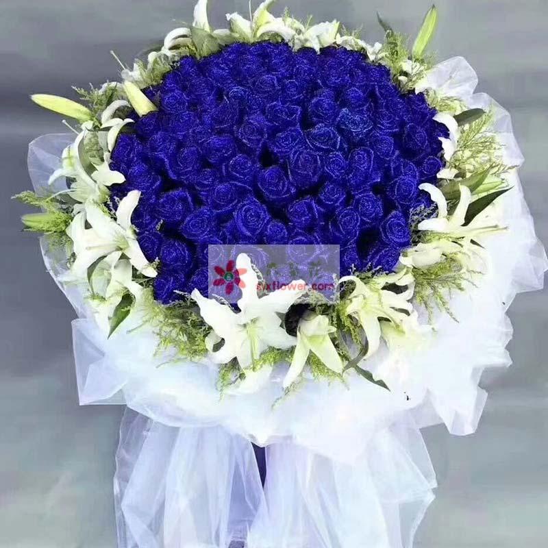99枝蓝玫瑰,20朵白色百合