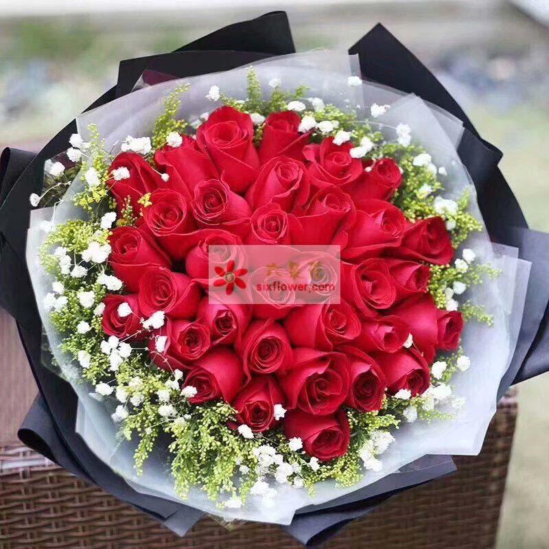 33朵红玫瑰,周边黄英、满天星点缀