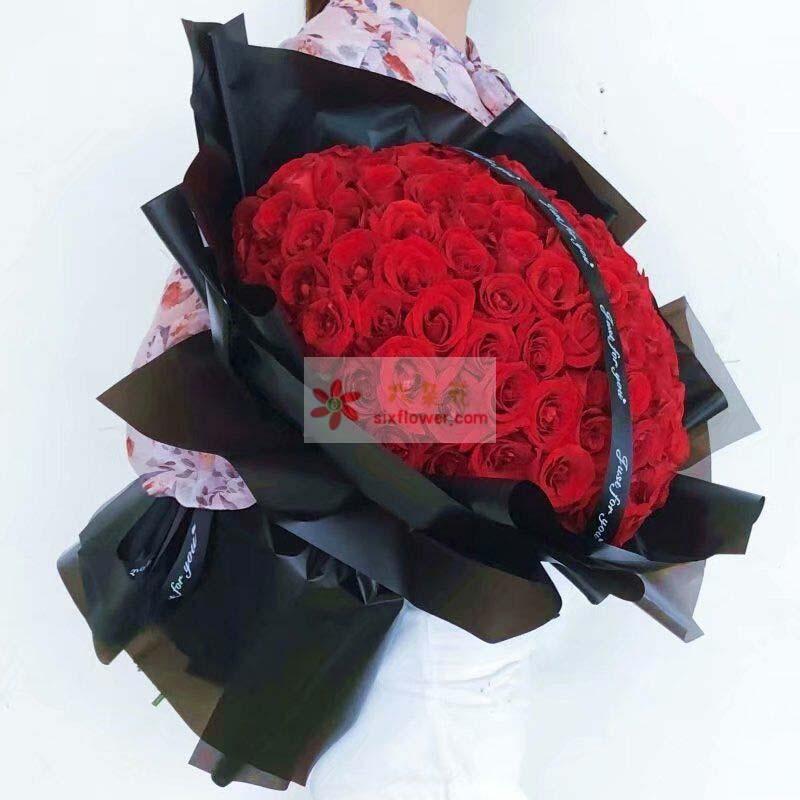 99朵红玫瑰,黑色丝带拉花