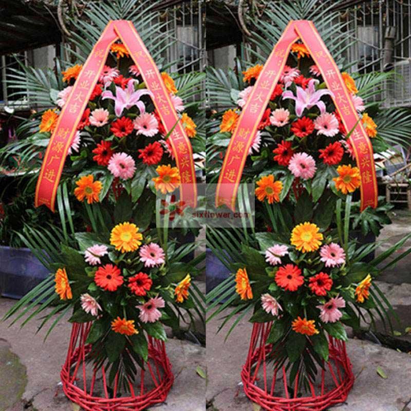 1朵粉色百合,各色扶郎花36朵,散尾葵搭配