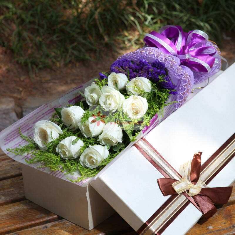 11朵白玫瑰,黄英丰满,紫色勿忘我搭配