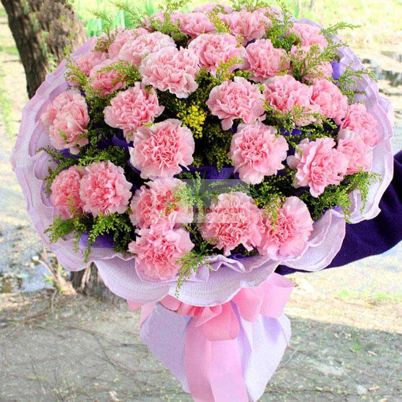 30朵粉色康乃馨,黄英丰满、紫色勿忘我点缀