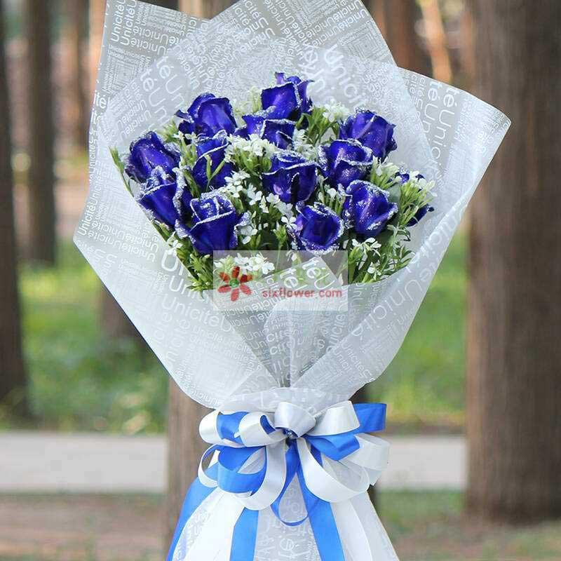 12朵蓝玫瑰,相思梅丰满