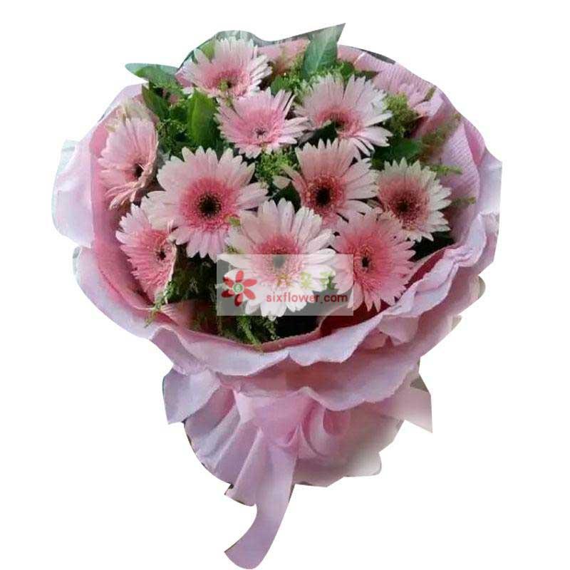 11朵粉色扶郎花,栀子叶、黄英搭配
