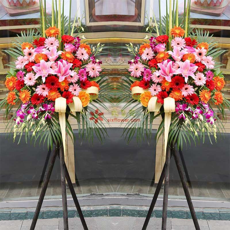30朵各色扶郎花,3朵粉百合,2朵粉玫瑰,紫罗兰、剑叶、散尾葵搭配;