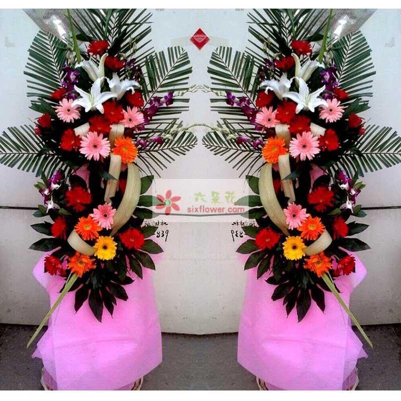 26朵各色扶郎花,栀子叶丰满,3朵百合,散尾葵、紫罗兰、巴西叶搭配