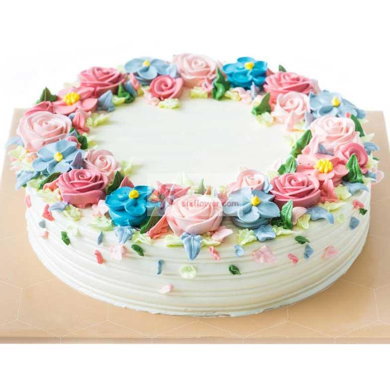 8寸玫瑰花鲜奶蛋糕,图案仅供参考