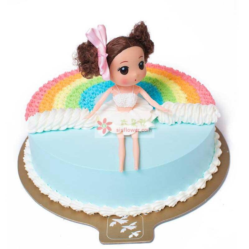 8寸彩虹女孩蛋糕