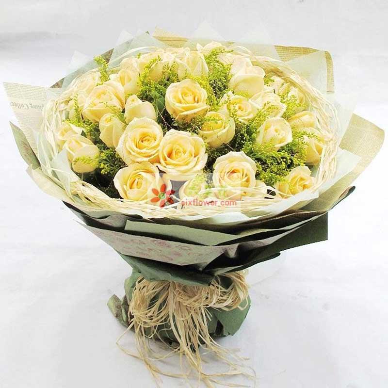 21朵香槟玫瑰,黄英丰满