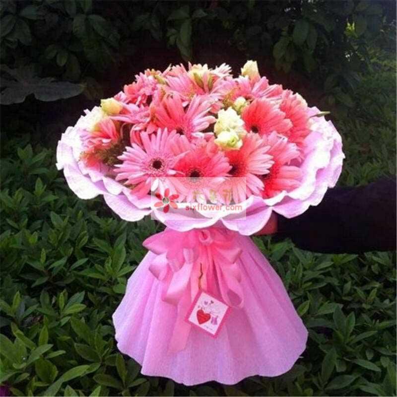 29朵粉色扶郎花,桔梗、黄英点缀
