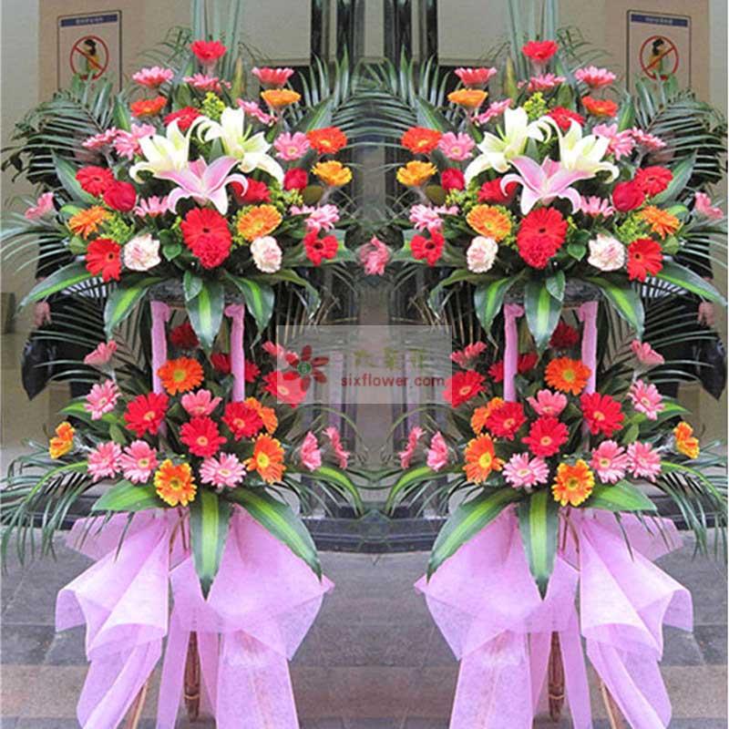 48朵各色扶郎花,3朵百合花,巴西叶、散尾葵搭配