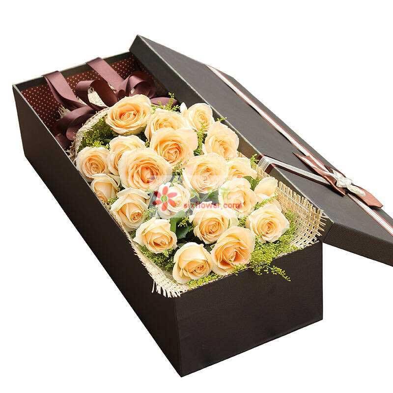 20朵香槟玫瑰,黄英丰满