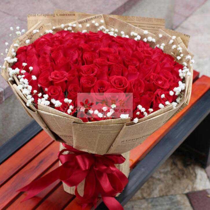 88朵红玫瑰,周围满天星点缀
