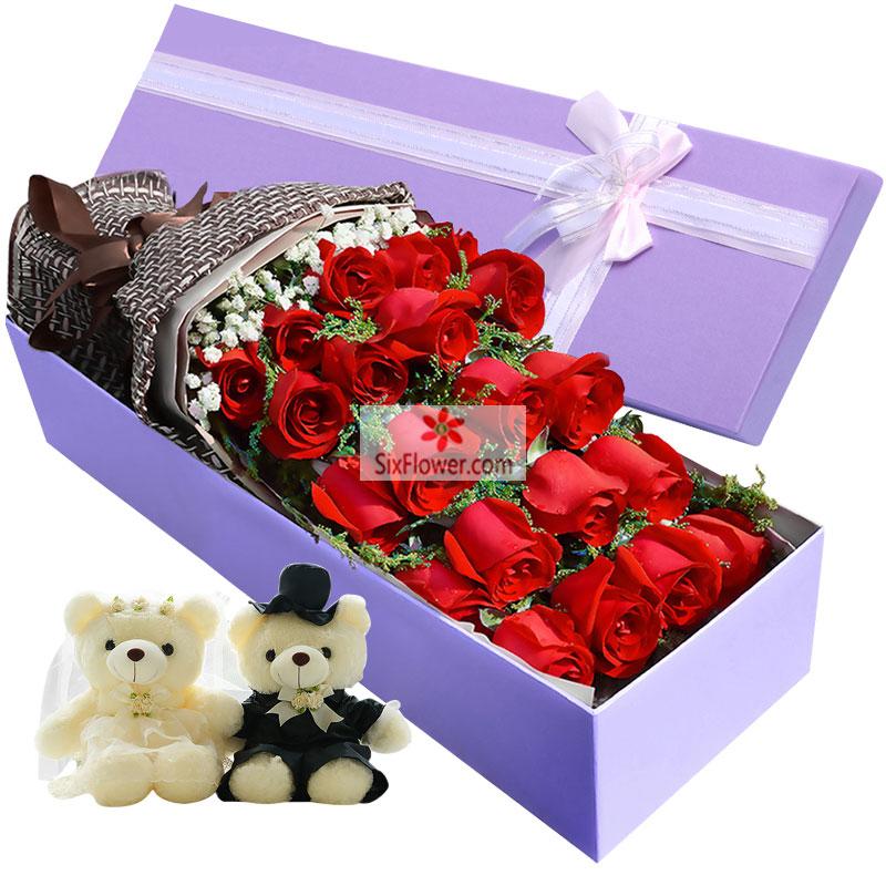 21朵红玫瑰,满天星搭配,2只小熊