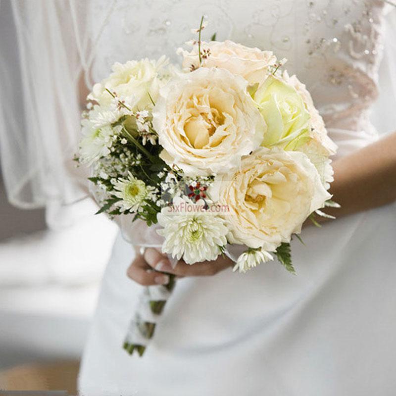 白玫瑰,香槟玫瑰,白色小雏菊,满天星