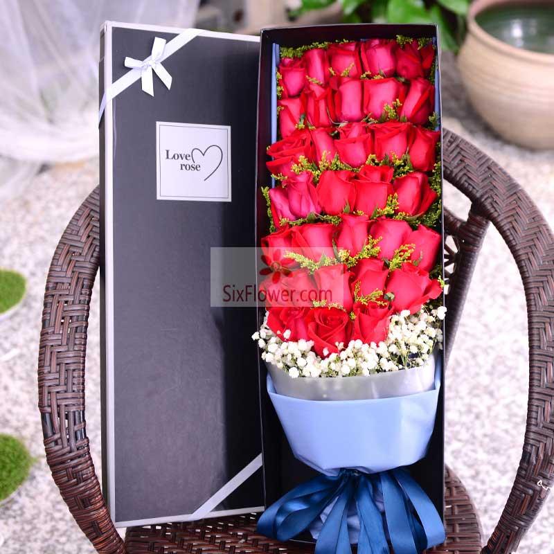 33朵红玫瑰,黄英、满天星点缀