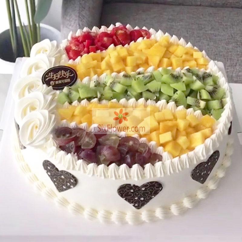 8寸圆形水果蛋糕