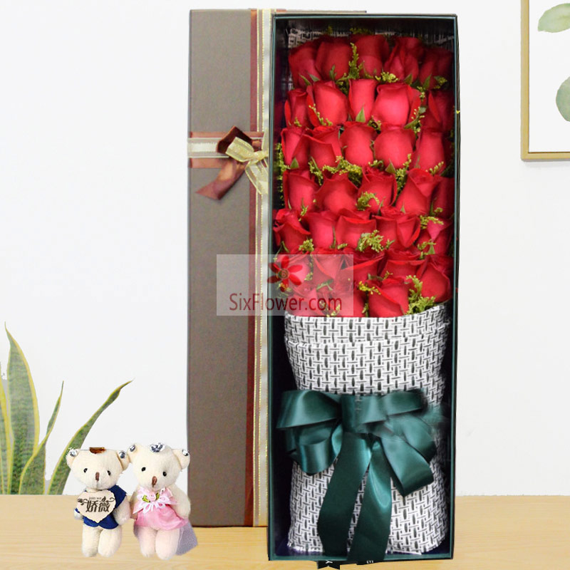 34朵红玫瑰,黄英点缀