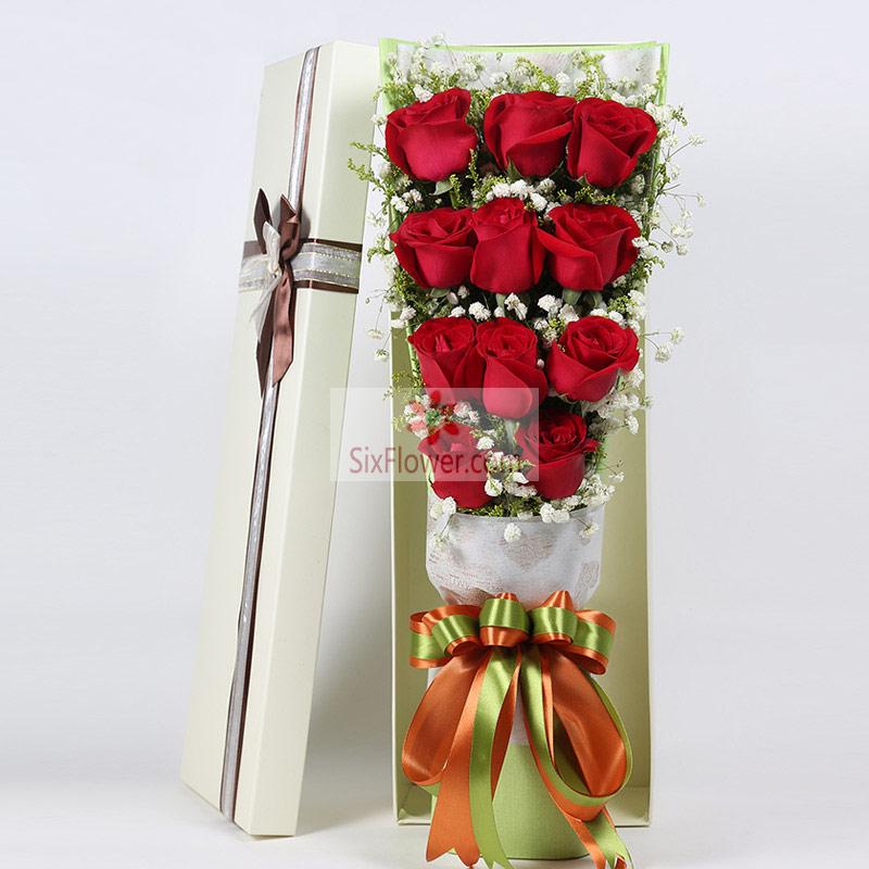 11朵红玫瑰,满天星搭配