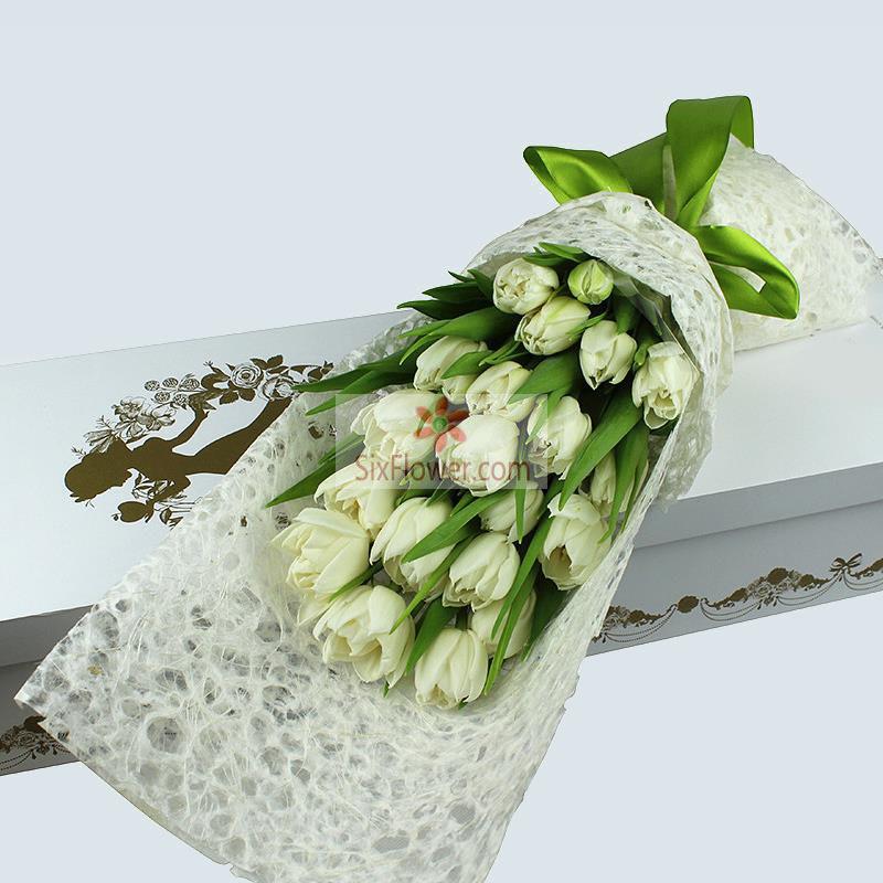 19朵白色郁金香,配叶搭配