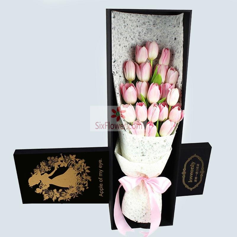 20朵粉色郁金香