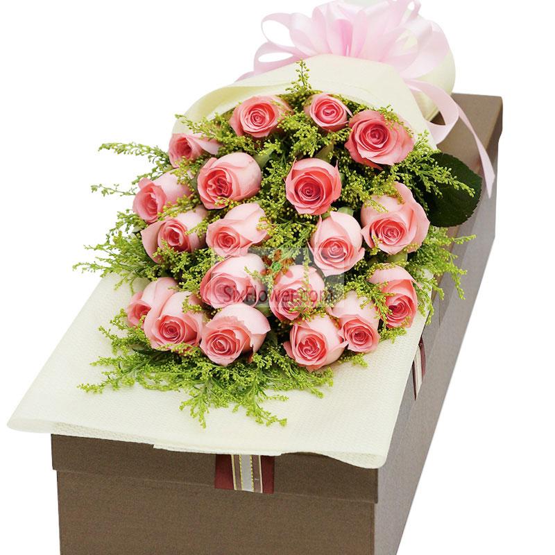 19朵戴安娜粉玫瑰,黄英搭配