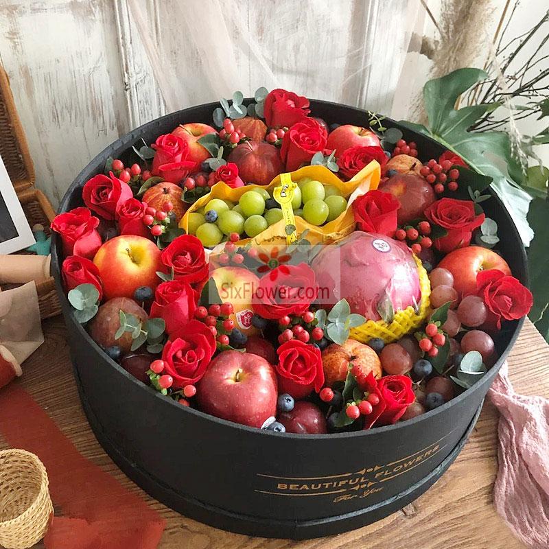 18朵红玫瑰,水果礼盒,再远的距离都有我美好的祝愿