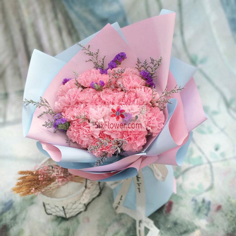 22朵粉色康乃馨,小美好都如期而至