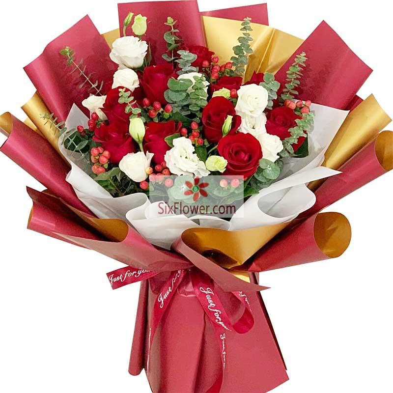 19朵红玫瑰,礼盒装,有你的每一天都是睛天