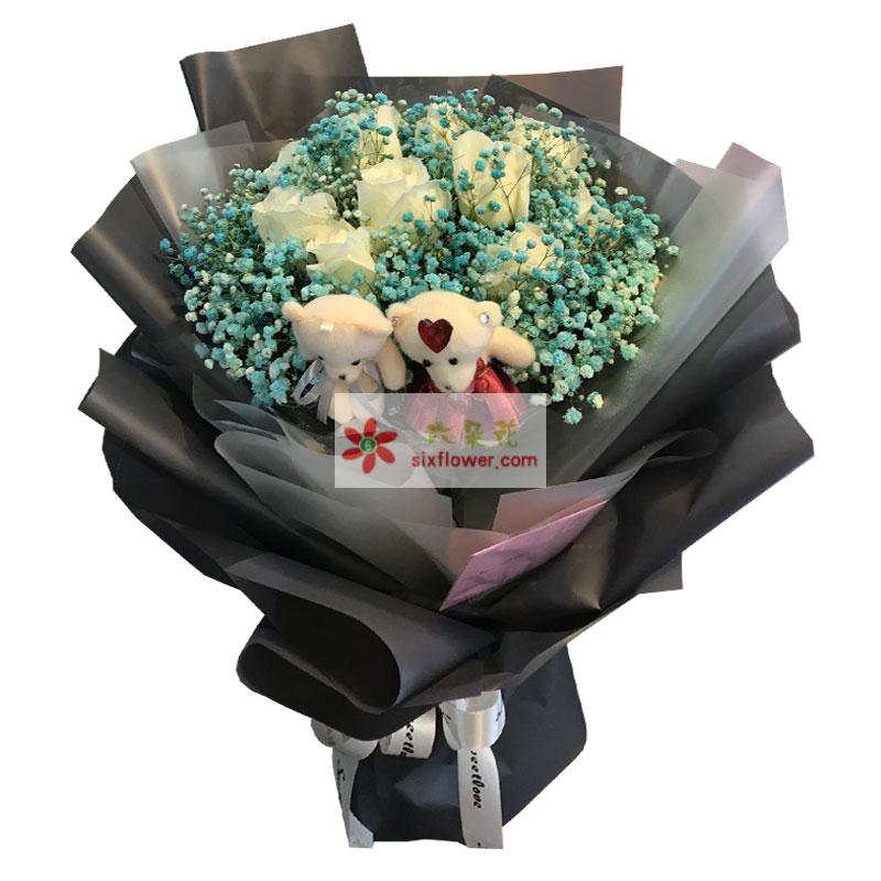 11朵白玫瑰,爱你一生