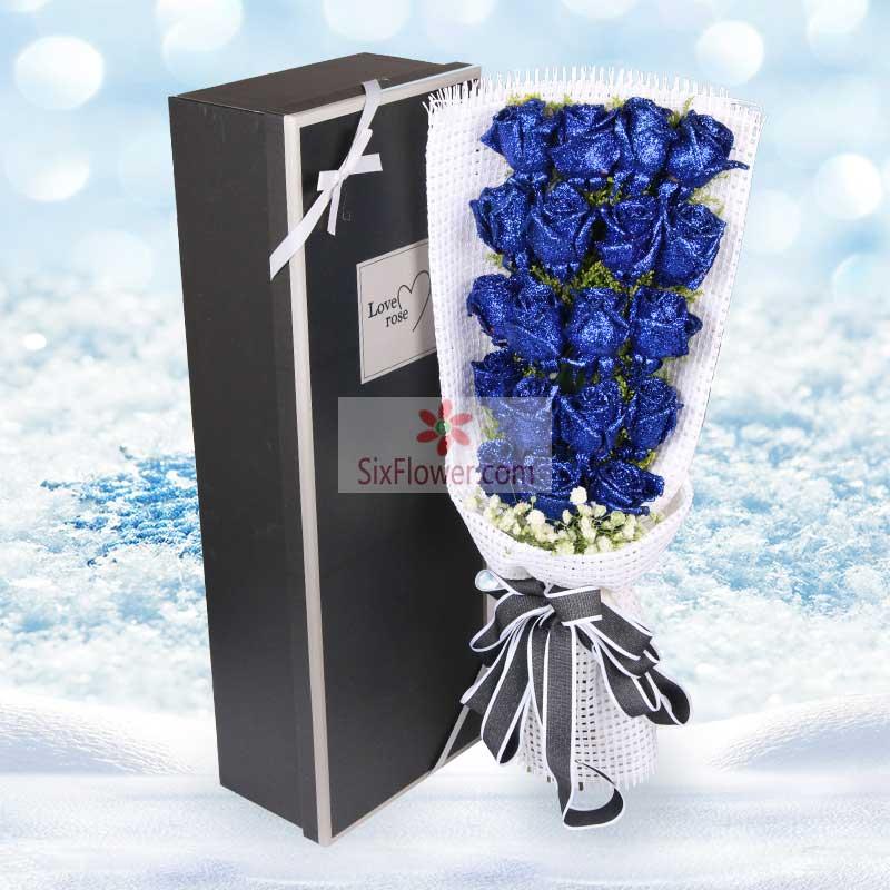 19朵蓝色玫瑰,愿为你遮挡风雨