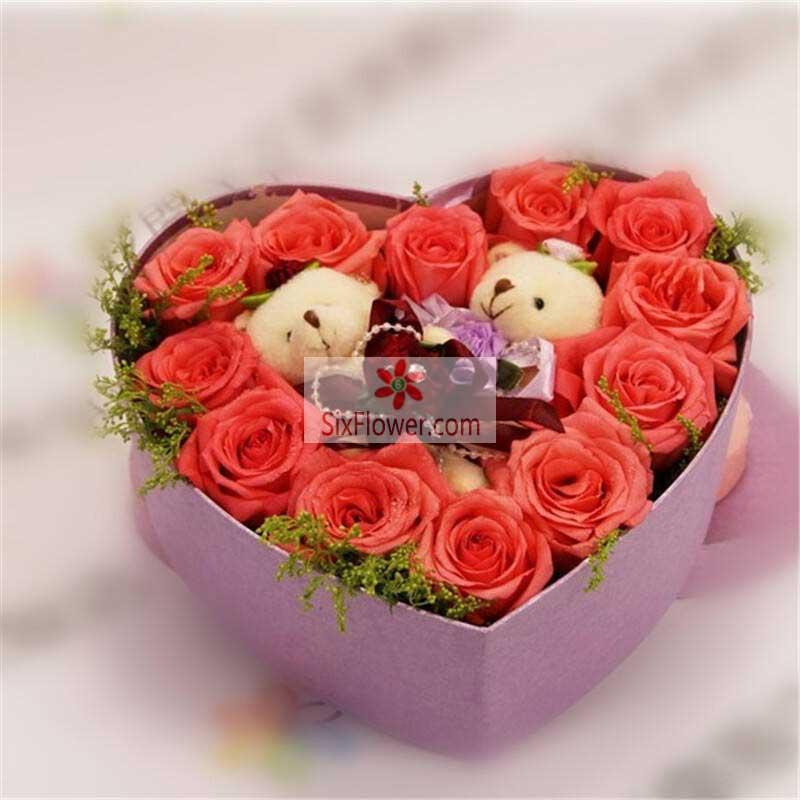 12朵粉玫瑰,礼盒装,时刻为你着迷