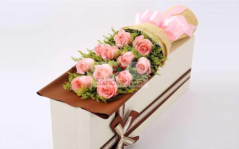 11朵戴安娜粉玫瑰,礼盒装,无论如何都爱你