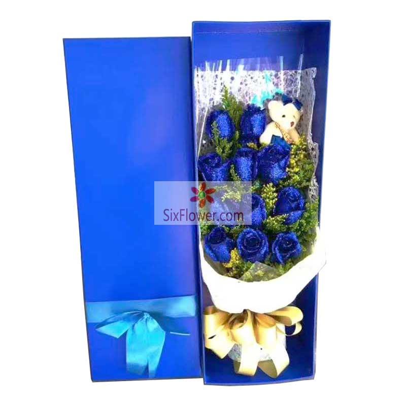 11朵蓝玫瑰,礼盒装,坚持我对你的真情