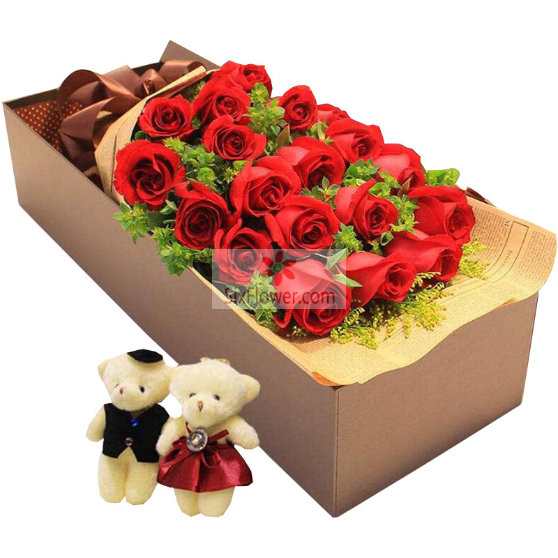 18朵红玫瑰,礼盒装,一辈子与你共度人生