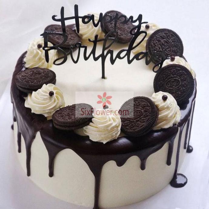 8寸鲜花巧克力蛋糕,平安一天天