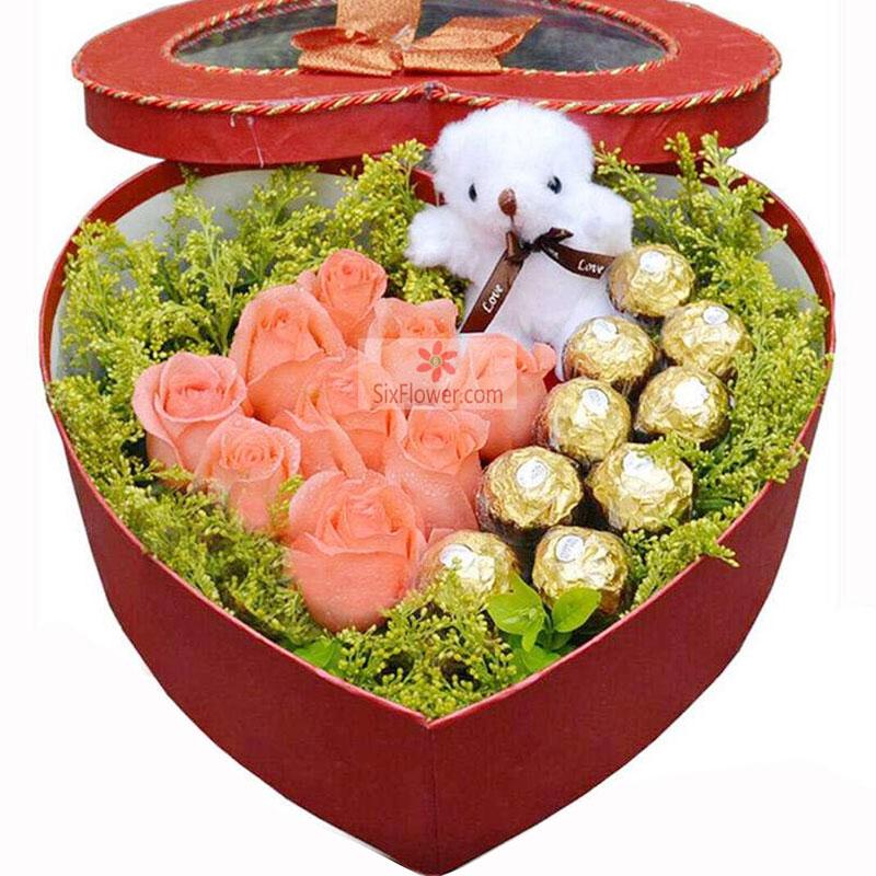 9朵粉玫瑰,9颗巧克力,爱你一辈子