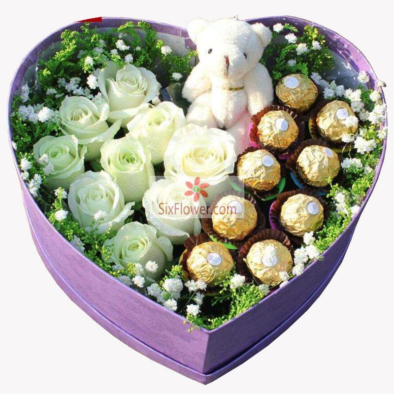 9朵白玫瑰,9颗巧克力,最美丽的你