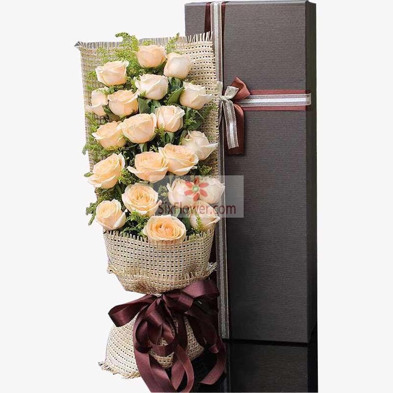 21朵香槟玫瑰礼盒,我的爱永远伴随你