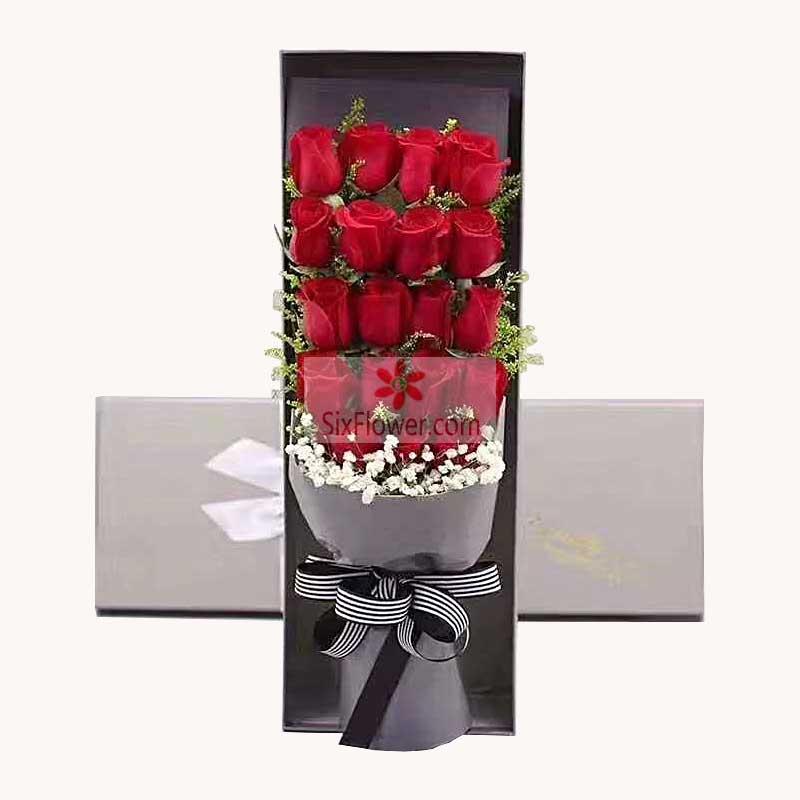 19朵红玫瑰礼盒,爱上你很久