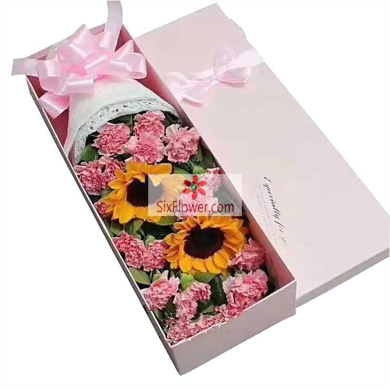16朵粉色康乃馨,2朵向日葵,难忘时刻