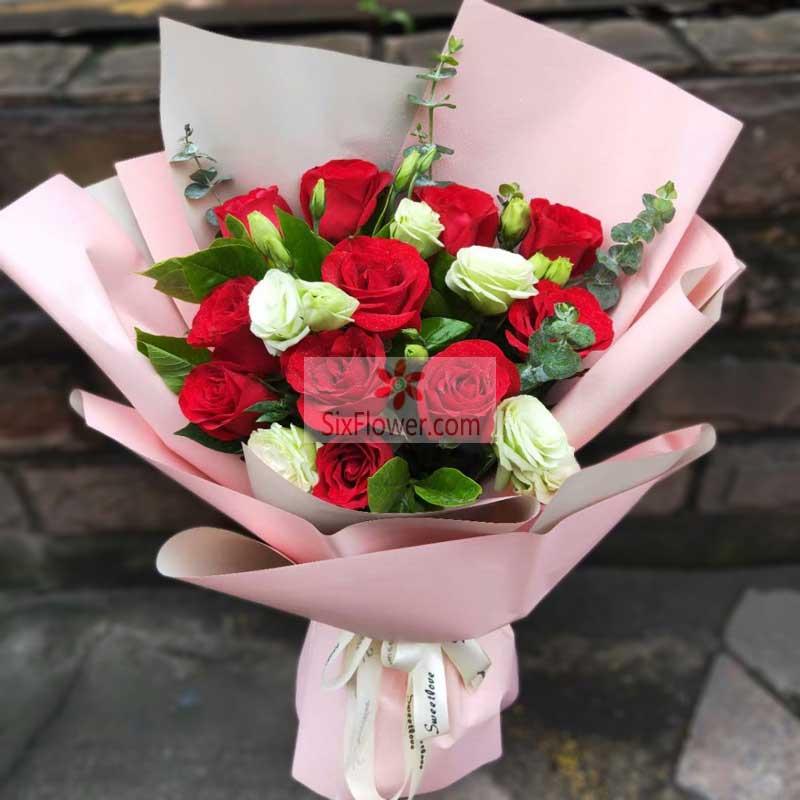 11朵红玫瑰,5朵桔梗,亲爱的我想你了