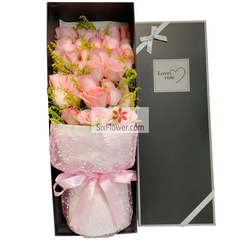 21朵戴安娜粉玫瑰礼盒,相约到白头