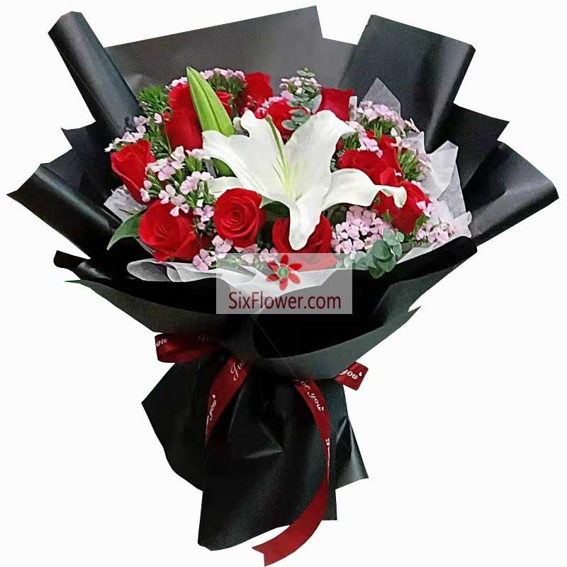 11朵红玫瑰,1支白色多头百合,爱你永远长久